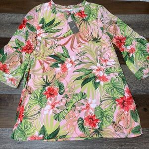 J Jill Floral Bell Sleeve Tunic Top Small Petite